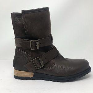 NEW Sorel Women's Major Moto Boots Buckle Leather